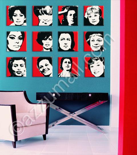 opere-arte-dipinti-quadri-pop-art-parete-donne-cinema-italiano-sofia-loren-giulietta-masina-anna-magnani-claudia-cardinale