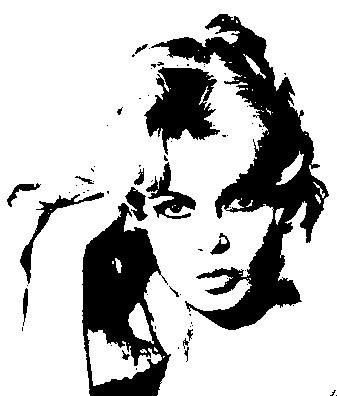 brigitte-bardot-giovane-sexy-dipinto-quadro-pop-art-tutorial-trasformare-photoshop-soglia-bianco-nero-bn-black-white