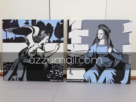 Annunciazione-leonardo-da-vinci-azzumail-popart-pop-art-copia-autore-artista-famoso-rinascimento-italiano-arte-art-trasformazione-falso-idea-regalo-quadro-dipinto-arredamento-moderno-colori-argento-testata-letto-camera-matrimoniale