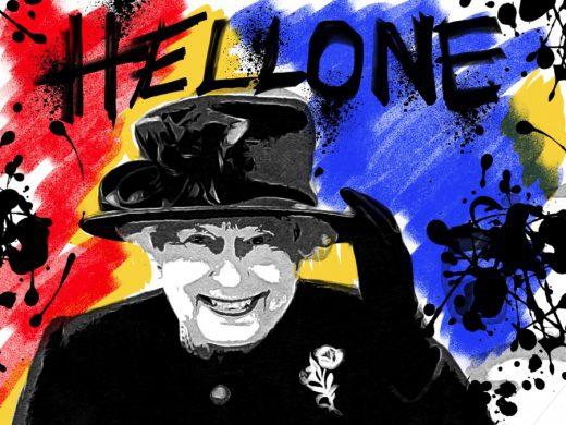01-brexit-hellone-ciaone-quadro-street-art-dipinto-a-mano-tela-galleria-pronto-da-appendere-mostra-inghilterra-gran-bretagna-regina-elisabetta-queen-elisabeth-azzumail-artista