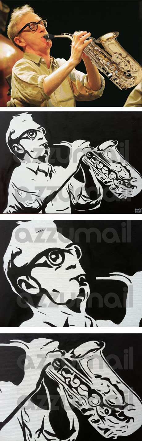 Woody Allen ritratto pop art mentre suona il sax, leggi il tutorial di come dipingere pop art!