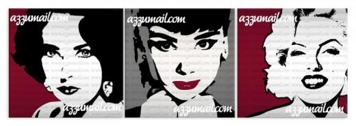 tre Quadri ritratti Audrey Hepburn Liz taylor e Marilyn Monroe pop art dipinti