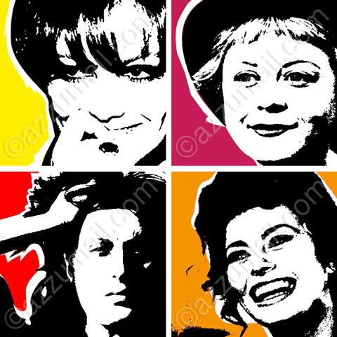 4-opere-tele-attrici-italiane-donne-del-cinema-sofia-loren-giulietta-masina-claudia-cardinale-anna-magnani-pop-art-quadri-aredamento-moderno-arte
