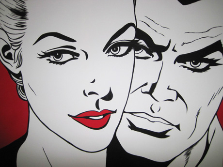 Diabolik-Eva-Kant-amore-coppia-love-labbra-paint-Pop-Art-Fumetti-Marvel-work-in-progress-pittura-quadri-dipinti-vendita-colori-bianco-nero-anime-manga-azzumail.com