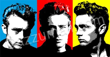 hollywood-james-dean-death-mito-idolo-baudelaire-bello-sexy-dannato-macchina-car-uomo-portrait-ritratto-dal-vero-trittico-pop-art-popart-quadro-moderno-dipinto-a-mano-arredamento-contemporaneo-cool-trendy-tela-nuova-idea-regalo-originale-vip