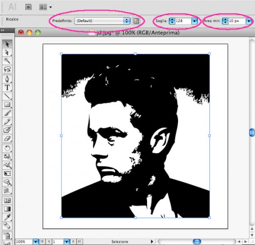 james-dean-gioventu-bruciata-giovane-sexy-dipinto-quadro-pop-art-tutorial-trasformare-illustrator-popart-tutorial-guide-manuale-screenshot-software-programma-ricalco-dinamico