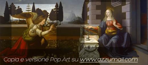 Annunciazione-leonardo-da-vinci-azzumail-popart-pop-art-copia-autore-artista-famoso-rinascimento-italiano-arte-art-trasformazione