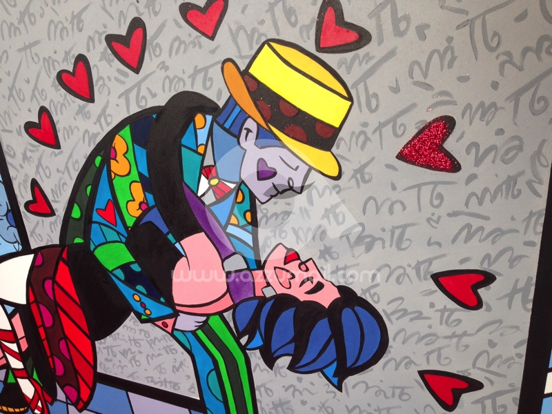 Favorito Falso d'autore copia quadro Romero Britto The Dancers, i ballerini  MQ61