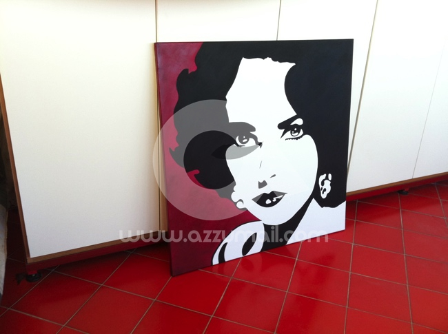 Ritratti liz taylor marilyn monroe audrey hepburn for Cerco quadri moderni