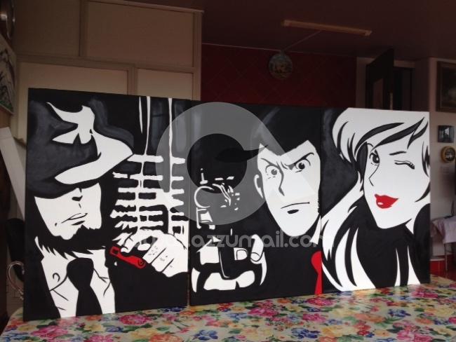 Lupin iii dipinti pop art giganti for Dipinti moderni bianco e nero