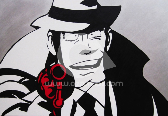 Lupin iii quadri pop art con fondo argento for Dipinti moderni bianco e nero