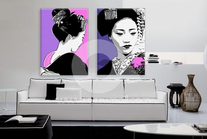 Quadri dipinti a mano pop art giappone e oriente geisha for Quadri dipinti a mano dipinti moderni idee arredamento