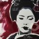 01-quadro-geisha-dipinto-a-mano-moderno-oriente-giappone-maiko-pop-art-popart-idea-arredo-regalo-rosso-japan