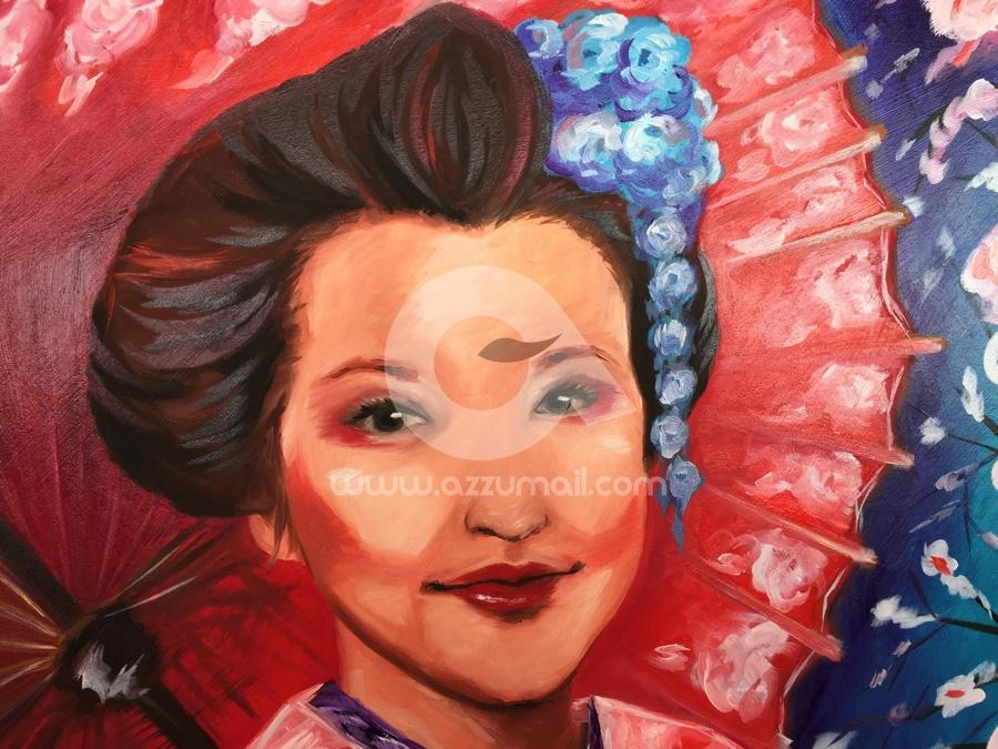 02-quadro-figurativo-moderno-geisha-oriente-giappone-japan-art-ritratto-donna-fiori-ciliegio-ombrello-rosso