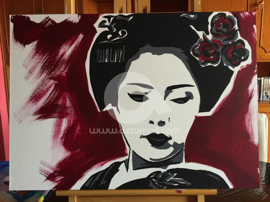 02 quadro geisha dipinto a mano moderno oriente giappone for Art arredo