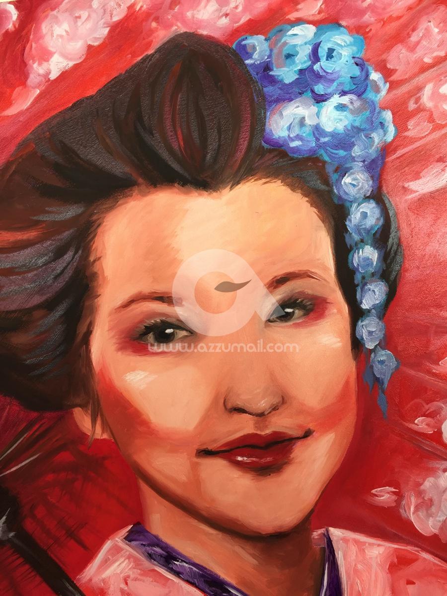 05-quadro-figurativo-moderno-geisha-oriente-giappone-japan-art-ritratto-donna-fiori-ciliegio-ombrello-rosso