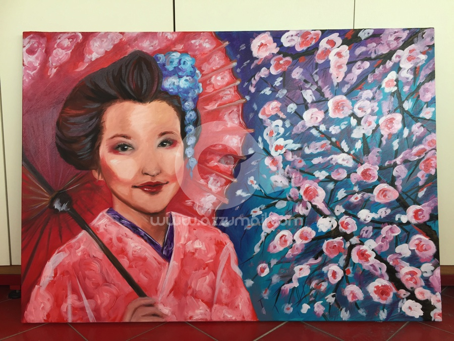 07-quadro-figurativo-moderno-geisha-oriente-giappone-japan-art-ritratto-donna-fiori-ciliegio-ombrello-rosso