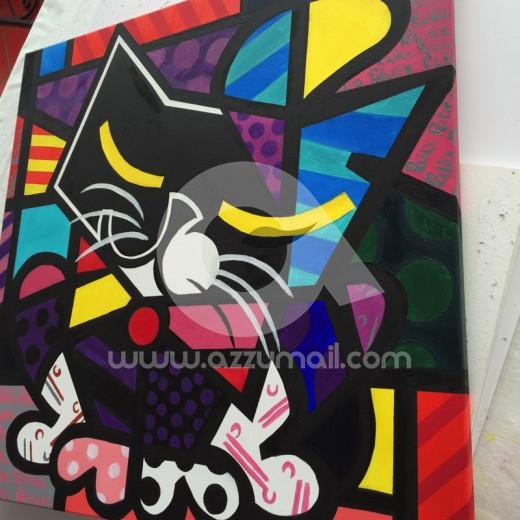 14-ritratto-work-in-progress-romero-britto-inspiration-style-moderno-copia-quadro-gatto