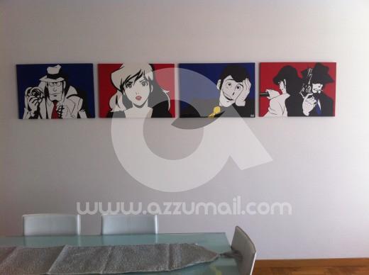 quadro-dipinto-a-mano-pop-art-fumetti-lupin-jigen-fujiko-margot-quadri-arredamento-casa-idea-regalo-originale-popart-arte-moderna-art-galleria-museo-contemporaneo-testata-letto