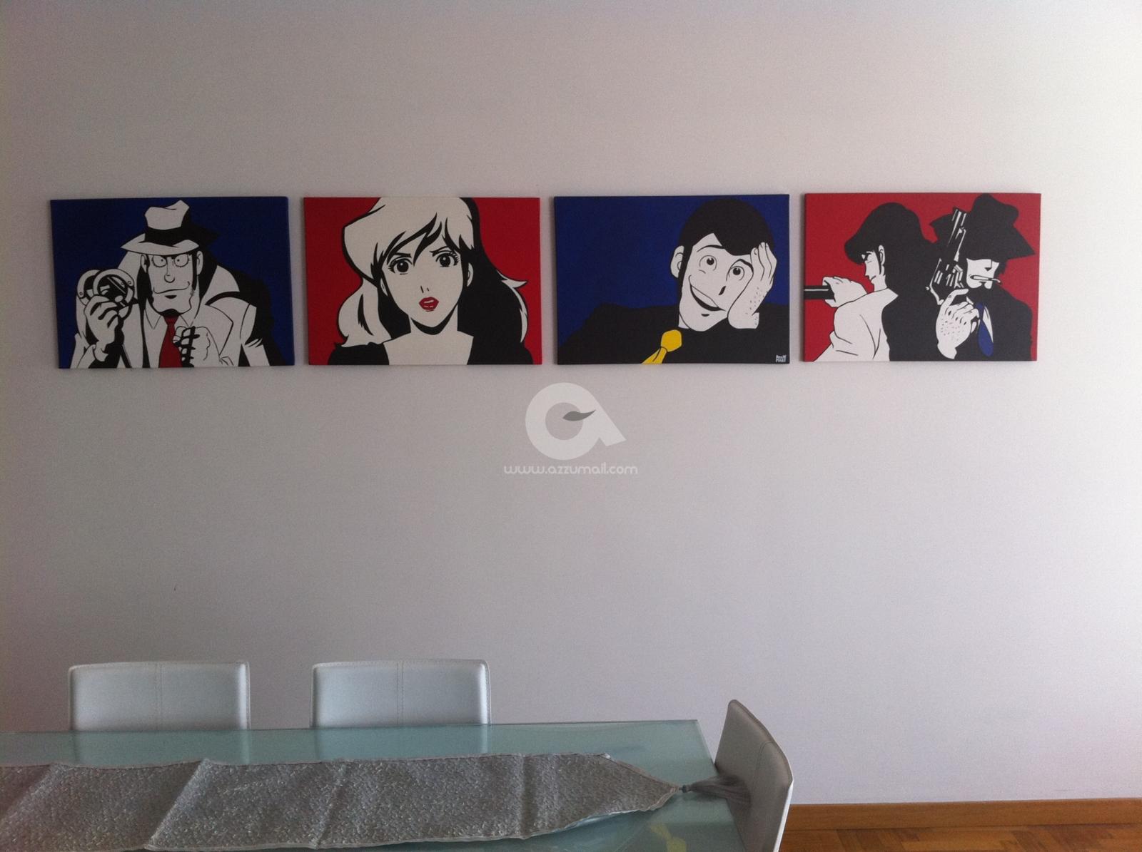 Quadro dipinto a mano pop art fumetti lupin jigen fujiko - Quadri per casa moderna ...