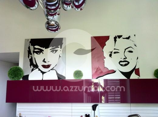 ritratto-quadri-pop-art-da-foto-liz-taylor-audrey-hepburn-marilyn-monroe-attrici-salotto-studio-cucina-casa-idea-regalo-arredo-arredamento-colori-dipinto-a-mano