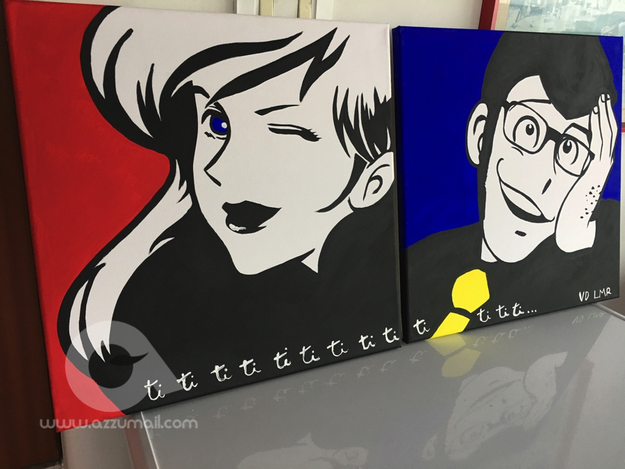 Quadro moderno pop art lupin iii fujiko mine margot