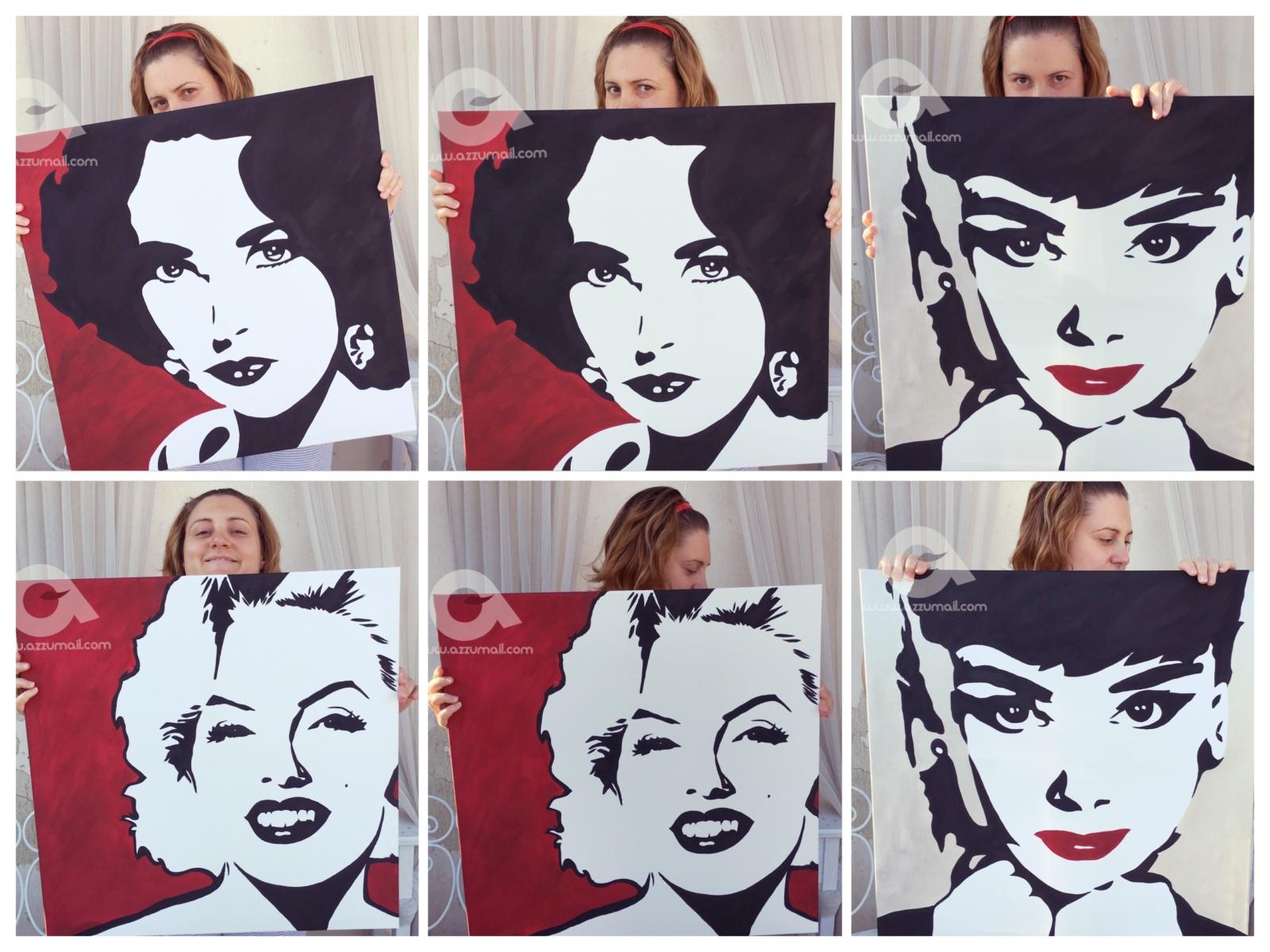 Quadri Arte contemporanea Ritratti di Marilyn Monroe, Liz Taylor e ...
