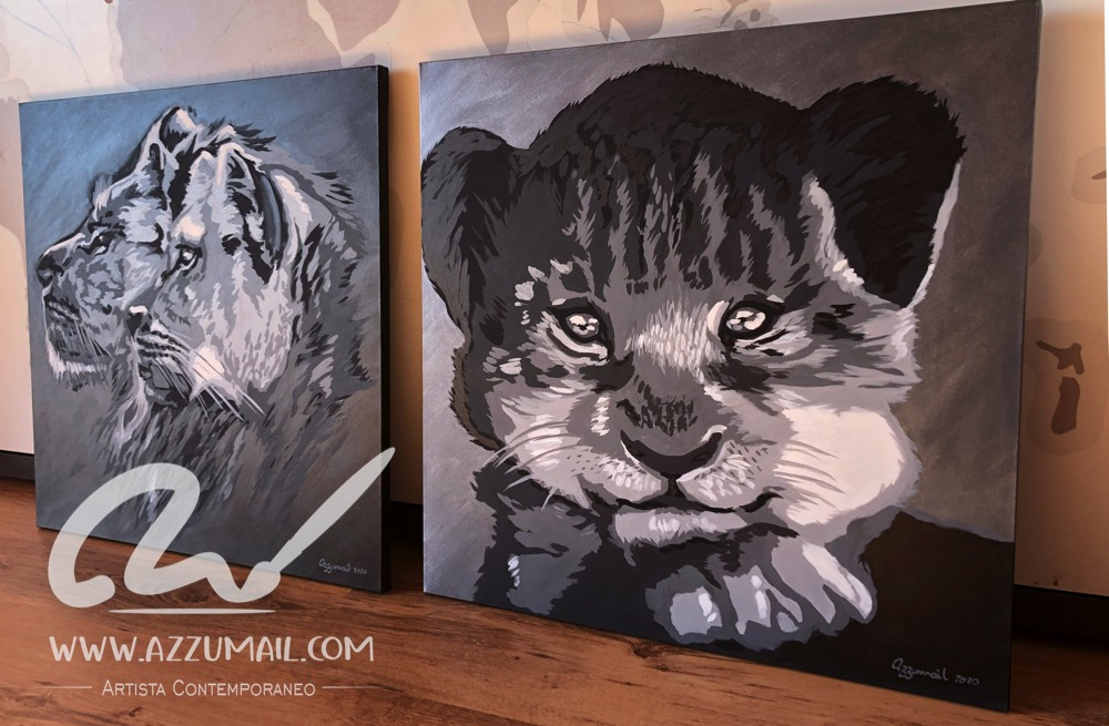 Foto quadro arte idea regalo ritratto leoni