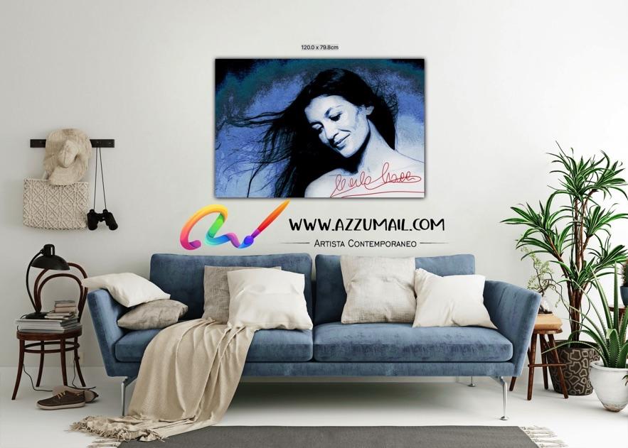 Carla Fracci ritratto pop art moderno quadro personalizzato dipinto a mano idea regalo living arredo arredamento italiano elegante firma blu