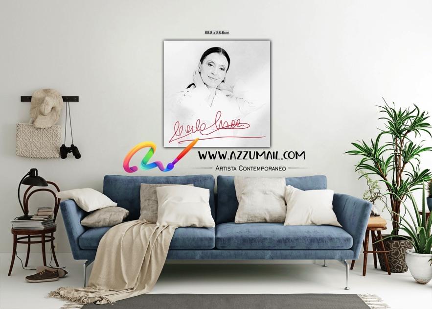 Carla Fracci ritratto pop art moderno quadro personalizzato dipinto a mano idea regalo living arredo arredamento italiano elegante bianco e nero bellissima