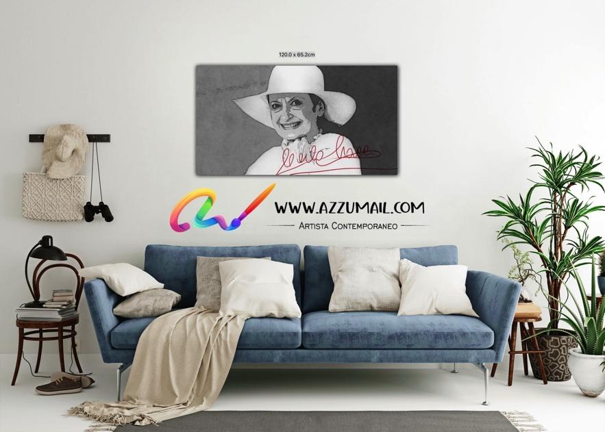 Carla Fracci ritratto pop art moderno quadro personalizzato dipinto a mano idea regalo living arredo arredamento italiano elegante bianco e nero