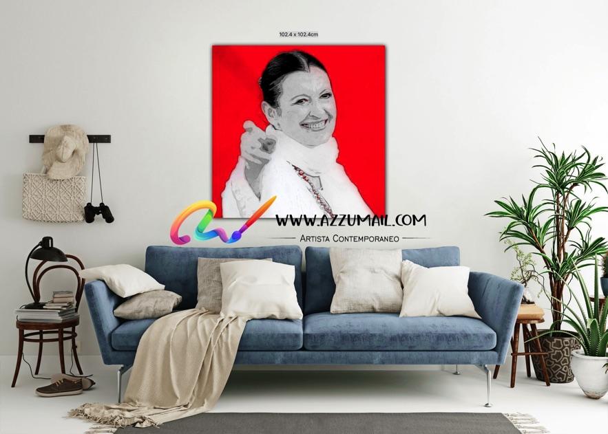 Carla Fracci ritratto pop art moderno quadro personalizzato dipinto a mano idea regalo living arredo arredamento italiano elegante quadrato rosso