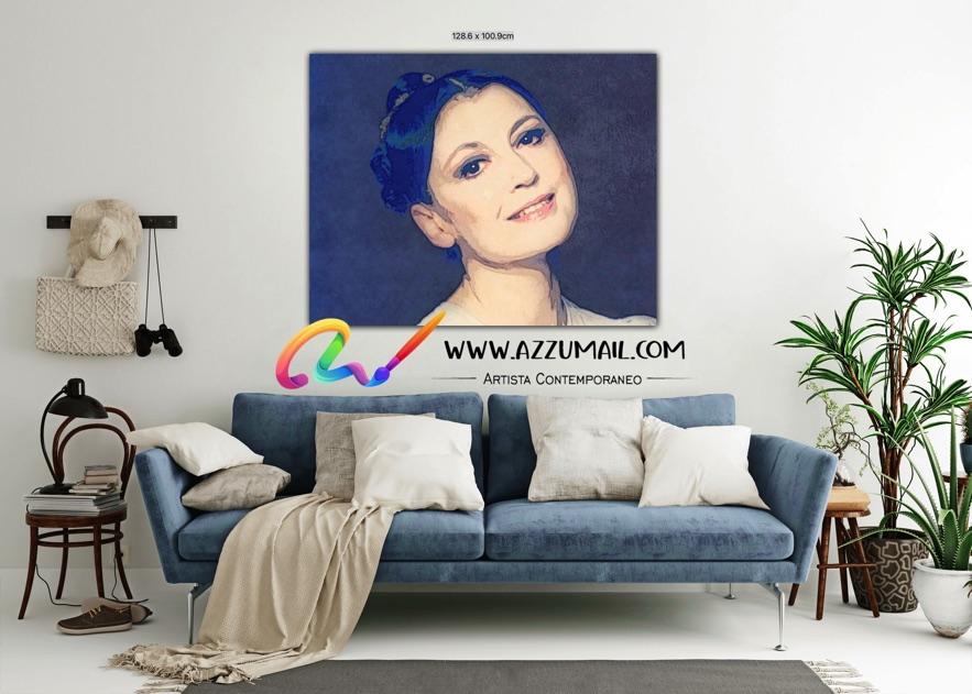 Carla Fracci ritratto pop art moderno quadro personalizzato dipinto a mano idea regalo living arredo arredamento italiano elegante blu