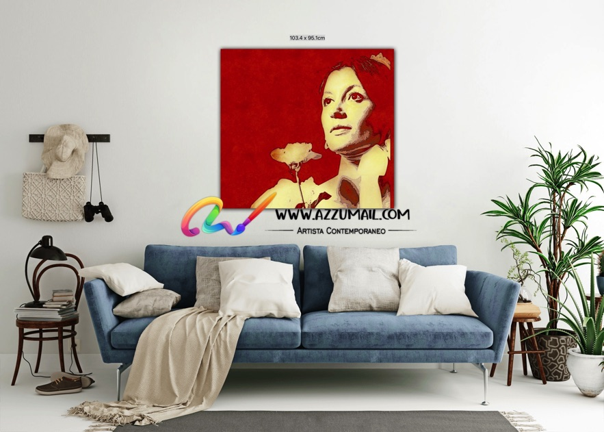 Carla Fracci ritratto pop art moderno quadro personalizzato dipinto a mano idea regalo living arredo arredamento italiano elegante rosso