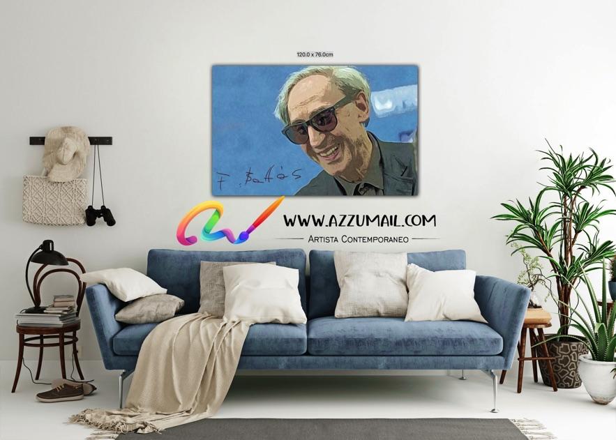 Quadro ritratto pop art dipinto a mano idea regalo arredo arredamento living personalizzato firma blu azzurro