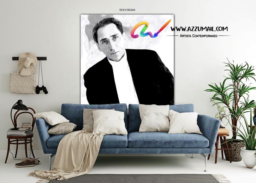 Quadro ritratto pop art dipinto a mano idea regalo arredo arredamento living personalizzato bianco e nero quadrato