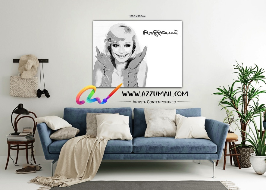 Raffaella Carrà ritratto pop art personalizzato grande originale idea regalo arredo bianco e nero
