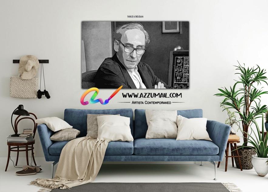 Quadro ritratto pop art dipinto a mano idea regalo arredo arredamento living personalizzato bianco e nero nello studio