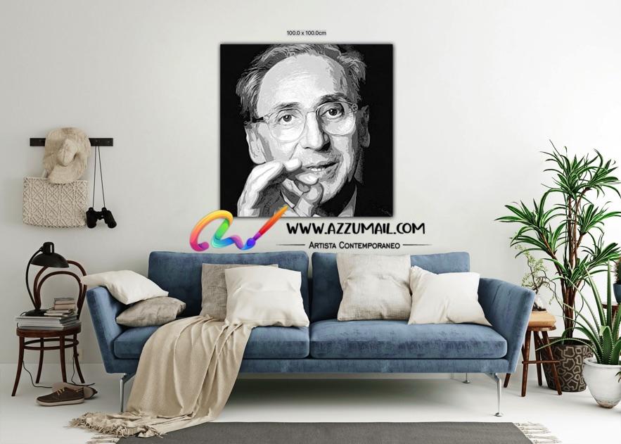 Quadro ritratto pop art dipinto a mano idea regalo arredo arredamento living personalizzato bianco e nero cantautore