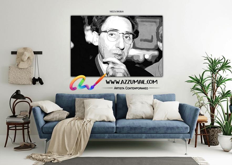 Quadro ritratto pop art dipinto a mano idea regalo arredo arredamento living personalizzato bianco e nero cantante