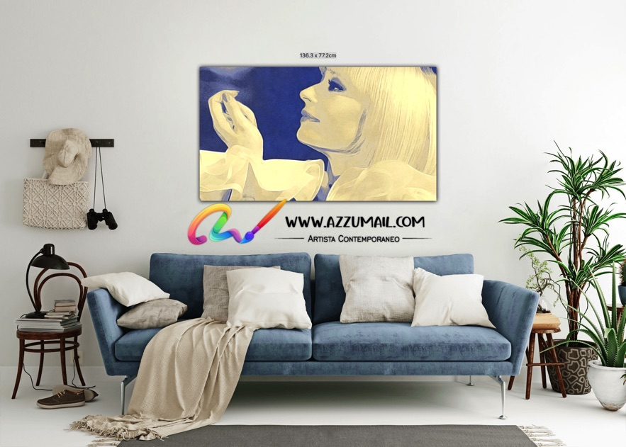 Raffaella Carrà ritratto pop art personalizzato grande originale idea regalo arredo blu